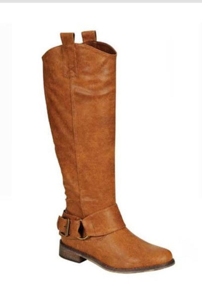 SHOES {Just My Style} Tall TAN Riding Boots with Buckle Accent