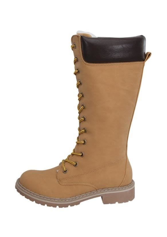 SHOES {Forever} CAMEL Lace-Up Knee Boots with Fleece Lining