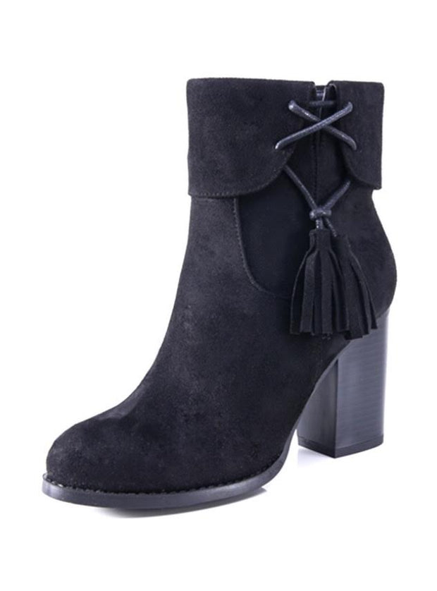 SHOES {M & L} Black Booties With Heel And Tassel