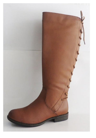 SHOES {BAMBOO} Brown Boots With Back Lace up Design