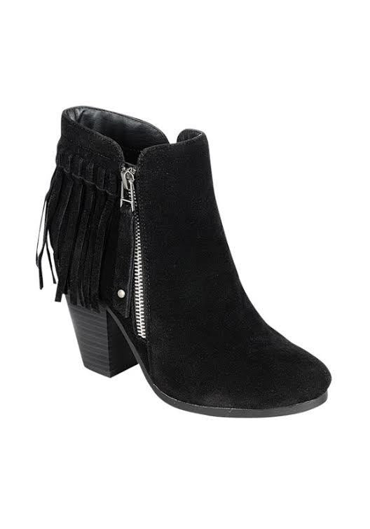 SHOES {Just My Style} Black Fringed Boots with Platform Heel & Side Zipper