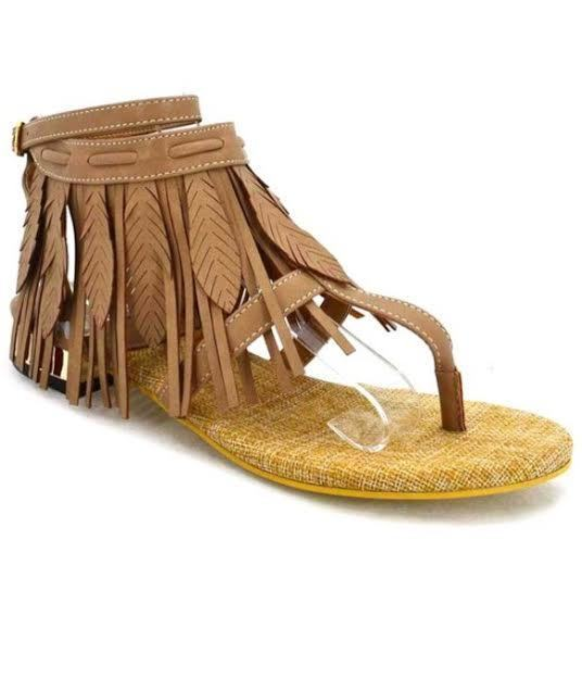 SHOES {JACOBIES} Tan Leather Fringe Down Flat Sandals