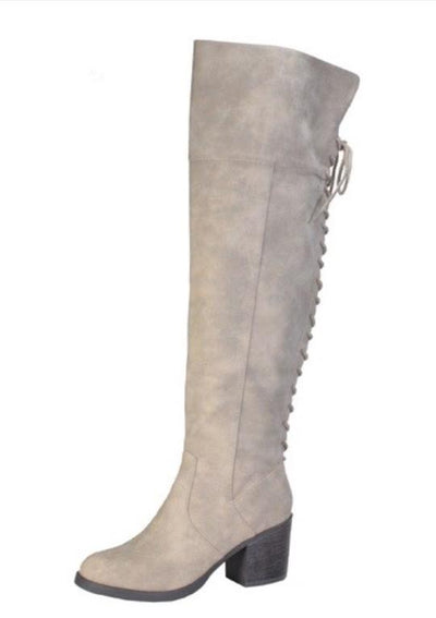 SHOES {Bamboo} Taupe Knee High Lace up Boots With Heel