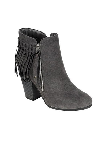 SHOES {Just My Style} Gray Fringed Boots with Platform Heel & Side Zipper