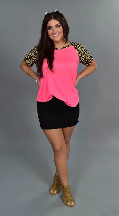 OS-M {Enjoy Yourself} Neon Pink Top with Leopard Print Detail