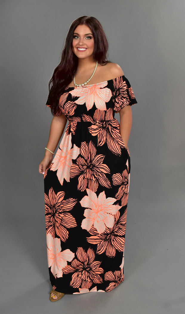 LD-B {Total Knockout} Black Maxi Dress with Neon Coral Flowers