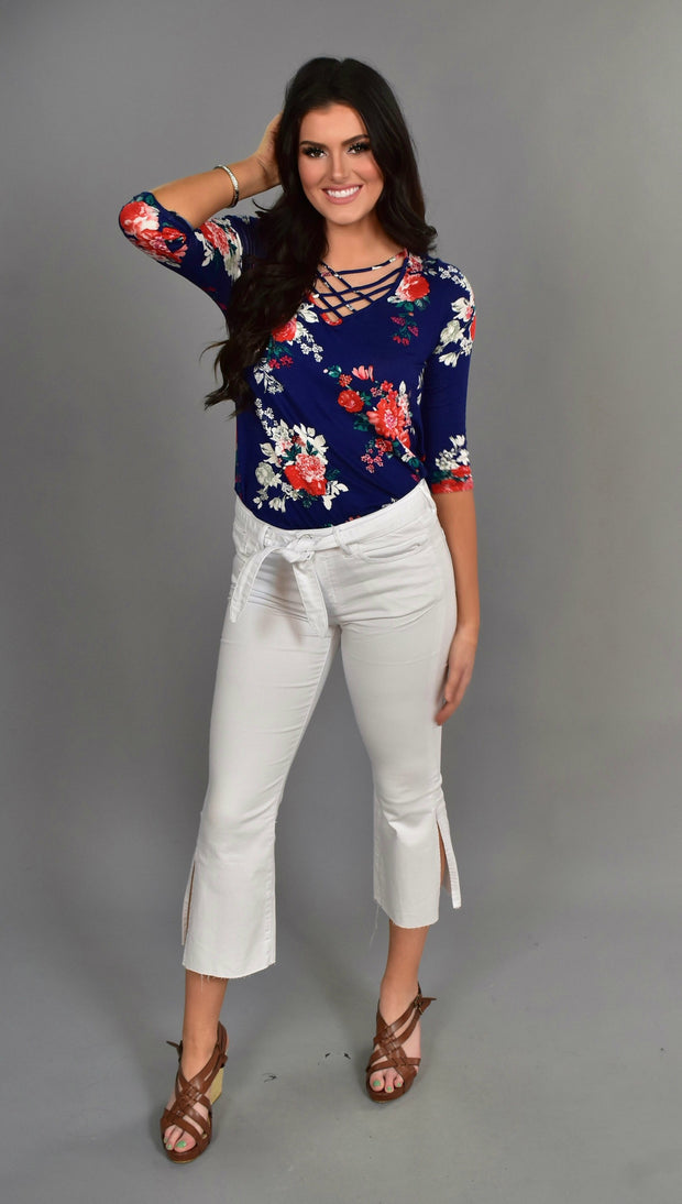PQ-E {Changing Ways} Navy Floral Top with Cage Neck Detail