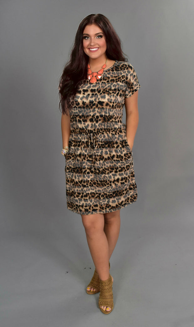 PSS-L {Perfect For You} Leopard Print Dress w/Pockets