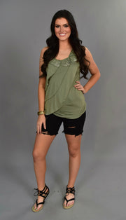 SV-C {Speak Up} Sleeveless Olive Top with Sequin Detail