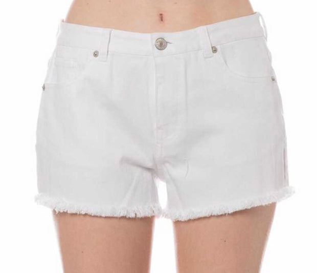 BT-X {Hello Happiness} White Denim Shorts Fringe Hem