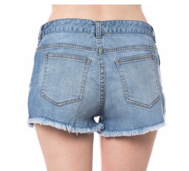 BT-W {Daytime Fun} Light Denim Shorts with Fringed Hem SALE!!