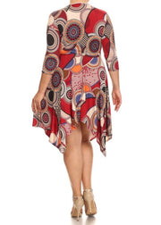 PQ-S {From This Moment} Burgundy Geo Printed Dress
