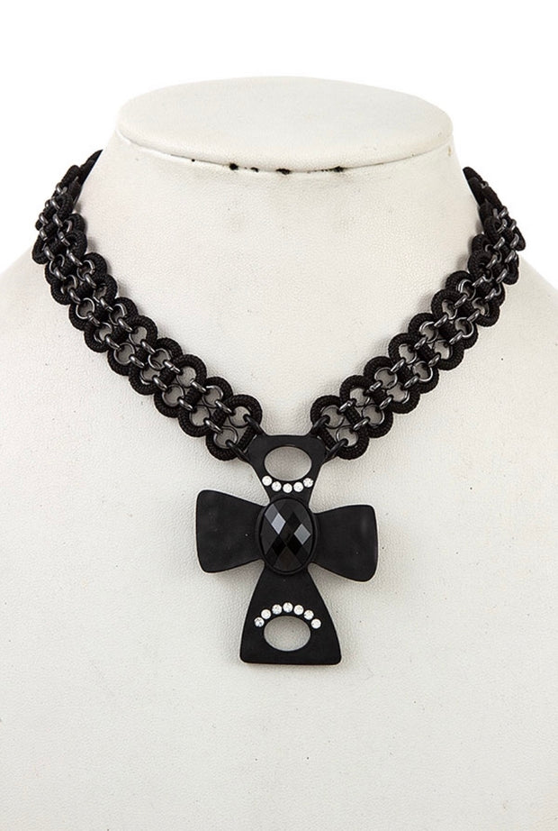 NC-A {New Path} Rhinestone Cross Necklace