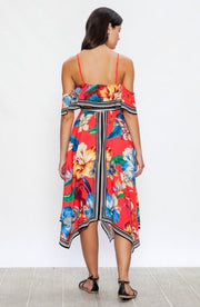 LD-A {Tropical Tango} Off-Shoulder Red Floral Hi-Lo Dress