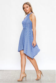 SV-K {From The Sidelines} Blue Striped Halter Flare Dress