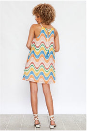 SV-C {Dodge The Paparazzi} Colorful Lined Halter Dress