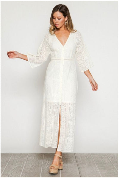 LD-M {Fresh Effect} Ivory Lace Button Front Dress with Lining