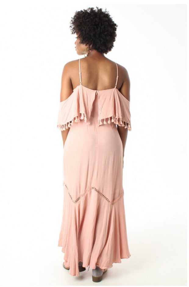 LD-M {Good To be Girly} Mauve Dress with Tassel Detail