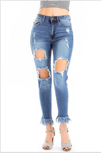 BT-C {Into The Moment} Distressed Denim Jeans with Fringe Hem