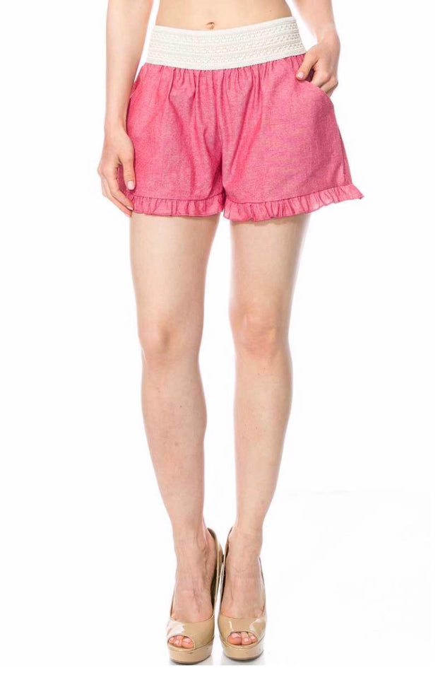 BT-P {It's Your Love} Red Shorts with Elastic Crochet Waistband SALE!!