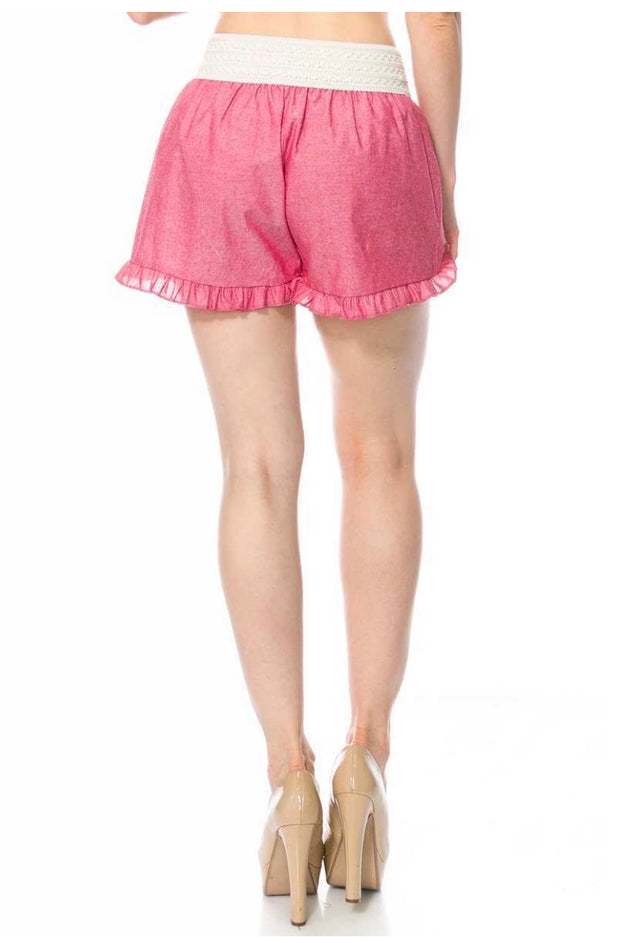 BT-P {It's Your Love} Red Shorts with Elastic Crochet Waistband