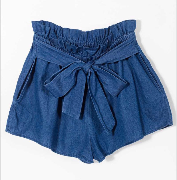 BT-P {Not A Worry} Denim Elastic Waist Shorts with Front Tie