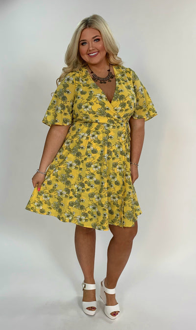 PSS-D {Sweet Sunshine} Yellow Floral Print Dress FLASH SALE!!