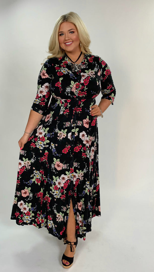LD-A {Fields Of Flowers} Black Floral Print Dress W/ Button Detail