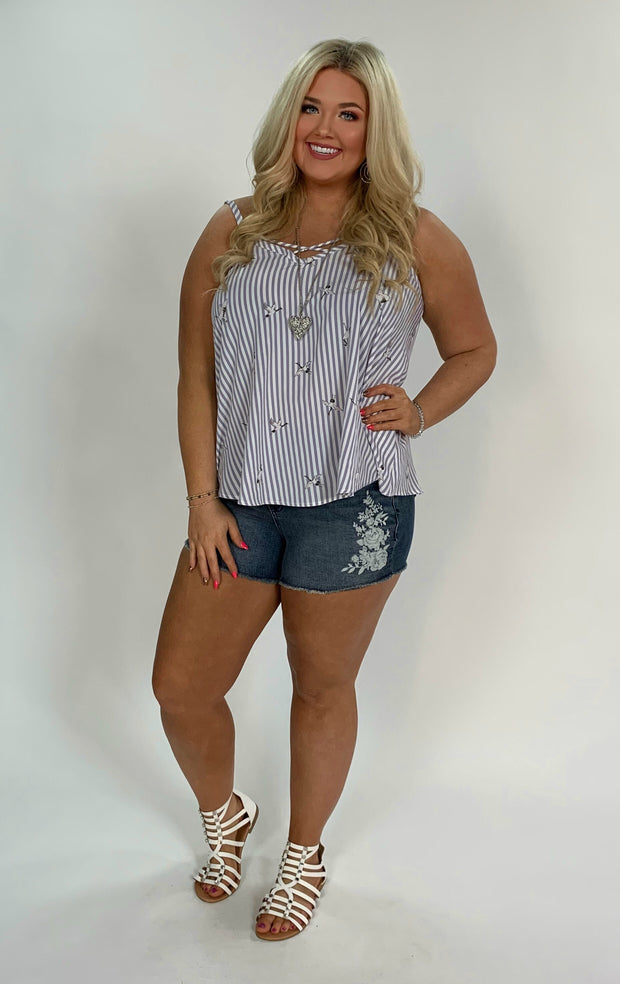 SV-L {Picture Perfect} Ivory/Gray Striped Top W/ Bird Print