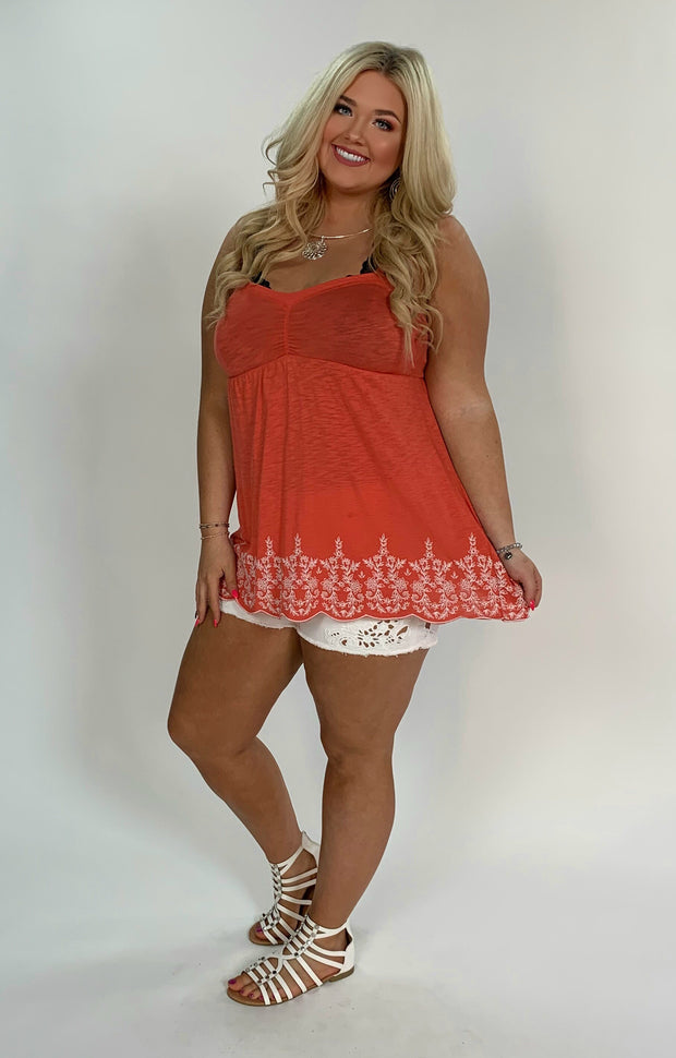 SV-M {Sheer Bliss} Orange Top W/ Flower Hem Detail