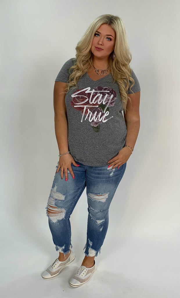 GT-B {Stay True} Gray V-Neck Tee W/ Floral Design