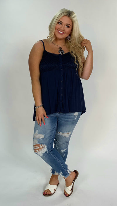 SV-H {Stay All Day} Navy Sleeveless Top W/ Button Up Detail  M/L