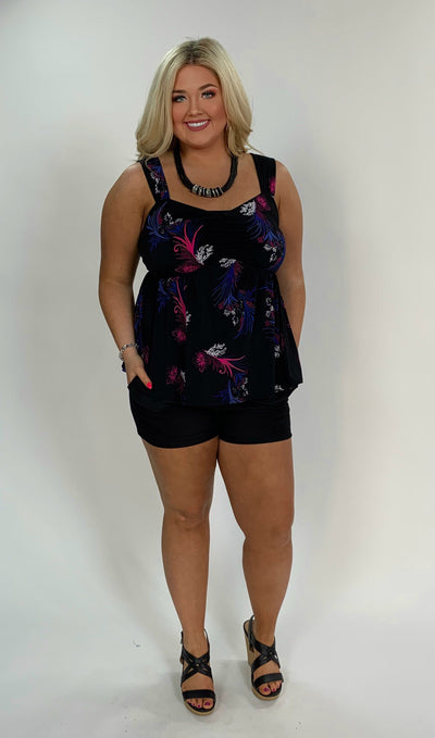 SV-G {Bold Move} Black Sleeveless Floral Print Top