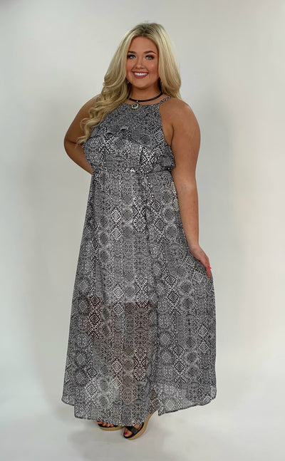 LD-B {Lover's Lane} Black/White Printed Dress