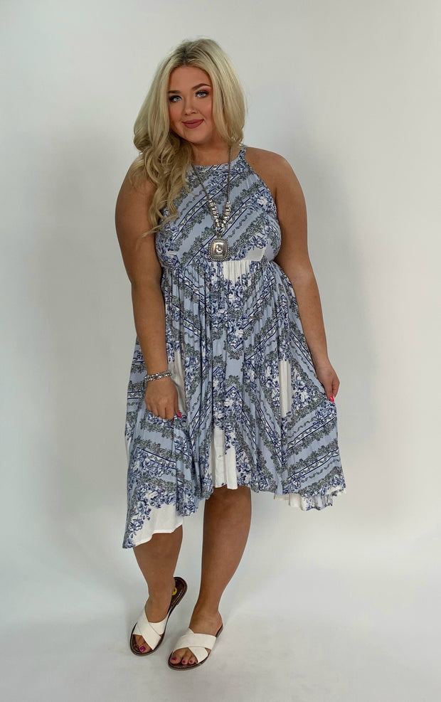 SV-D {Loving Care} Blue Floral Print Hi-Lo Dress