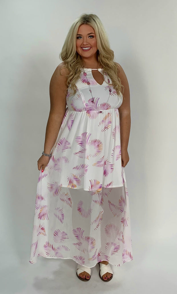 LD-V {Beach Inspired} White Tropical Print Dress W/ Key Hole Detail