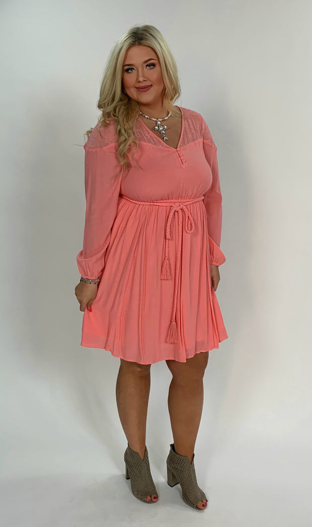 SLS-A {Starting Again} Peach V-Neck Dress W/ Waist Tie Detail
