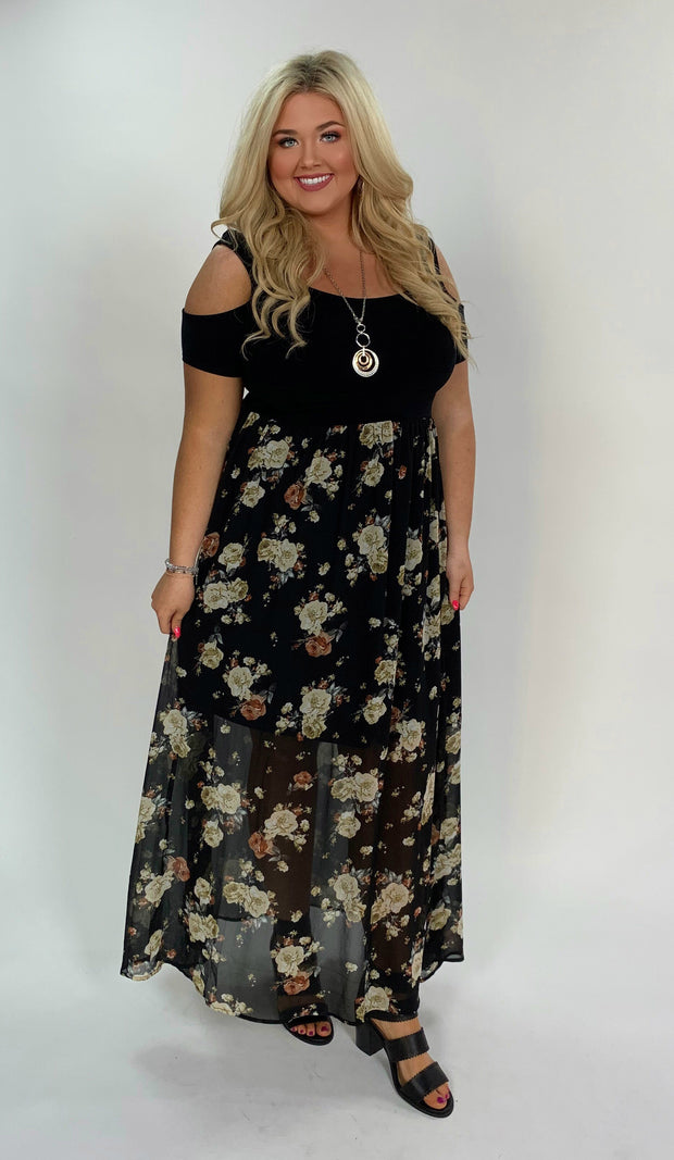 LD-R {Who I Am} Black Open Shoulder Dress W/ Floral Print Skirt