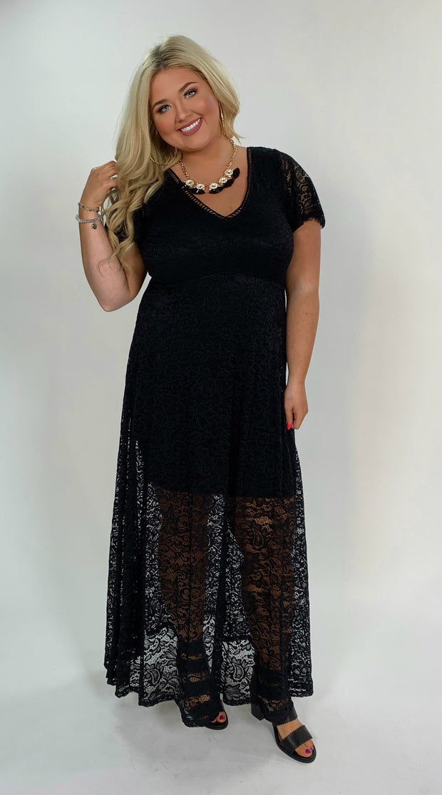 LD-Z {Trust Your Heart} Black V-Neck Lace Overlay Dress