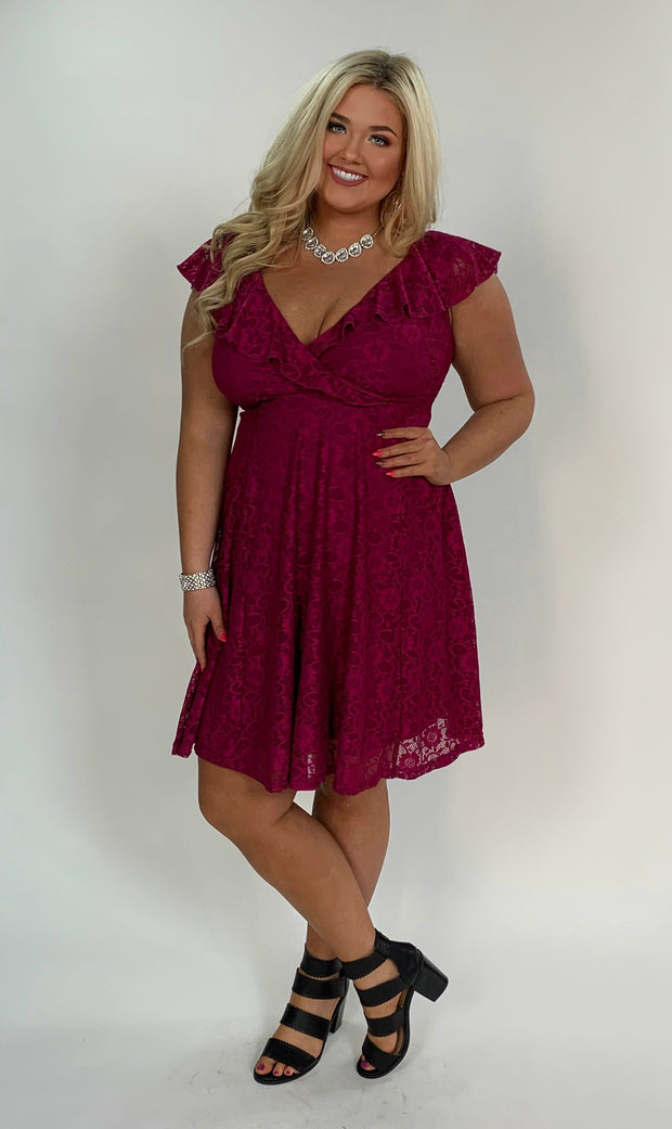 SV-G {Follow Me} Magenta Lace Overlay W/ Ruffle Dress