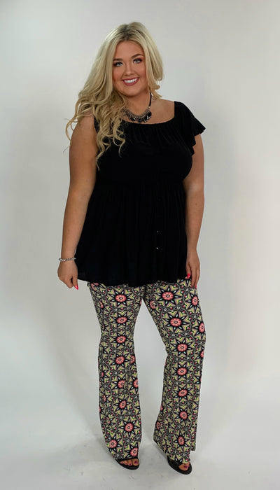 BT-H {Shine On} Black Floral Print Pants W/ Flare Bottom Detail