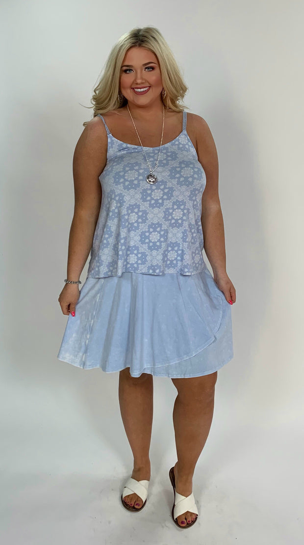 BT-B {Dream On} Blue Bleached Washed Skirt W/ Overlap Detail