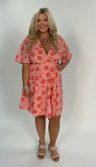 PSS-C {Truly Greatful} Peach V-Neck Floral Print Dress SALE!!