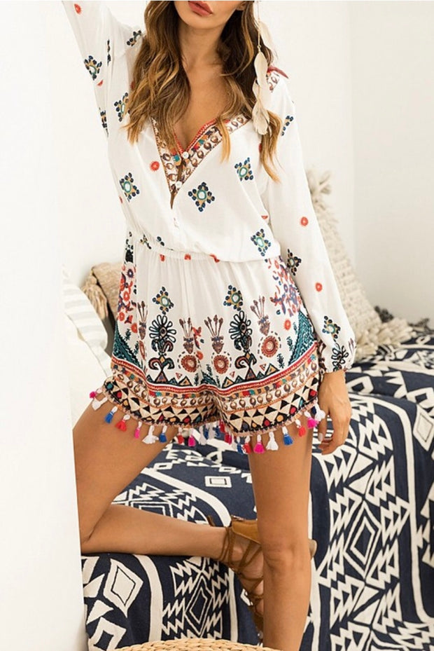 RP-I {Can Do Attitude} Ethnic Print Romper with Tassel Hem
