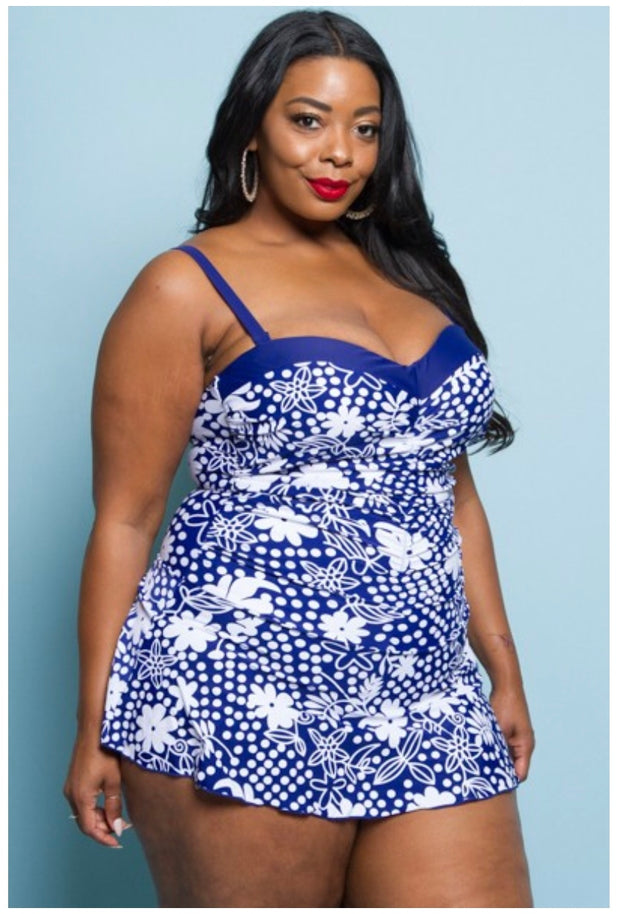 SWIM {Ready For A Cruise} Blue & White Skirted Swimsuit