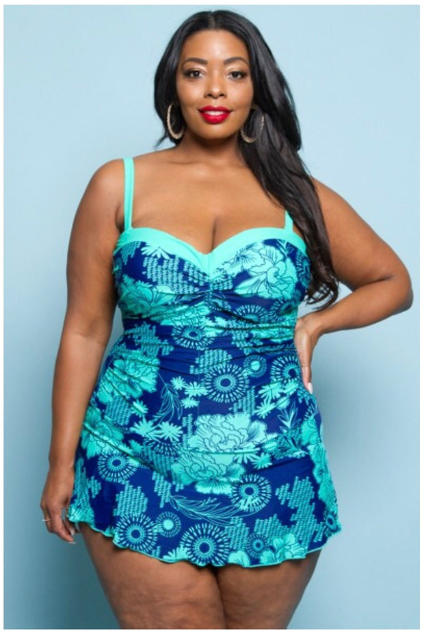 SWIM {Ready For A Cruise} Mint & Blue Skirted Swimsuit