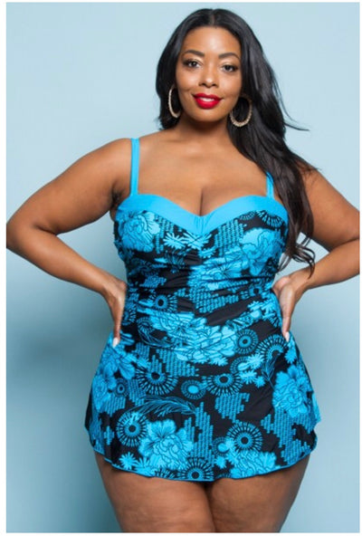 SWIM {Ready  For A Cruise} Black & Blue Skirted Swimsuit