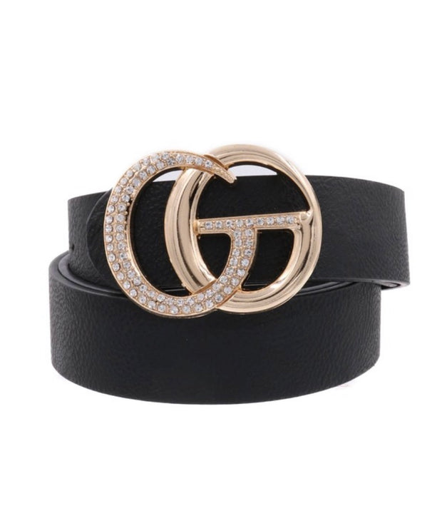 "BELT- {Diamond Girl} Black Rhinestone G.G. Leather 44"" Belt"