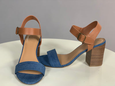 SHOES {Round We Go} Denim & Tan Ankle Strap Block Heels