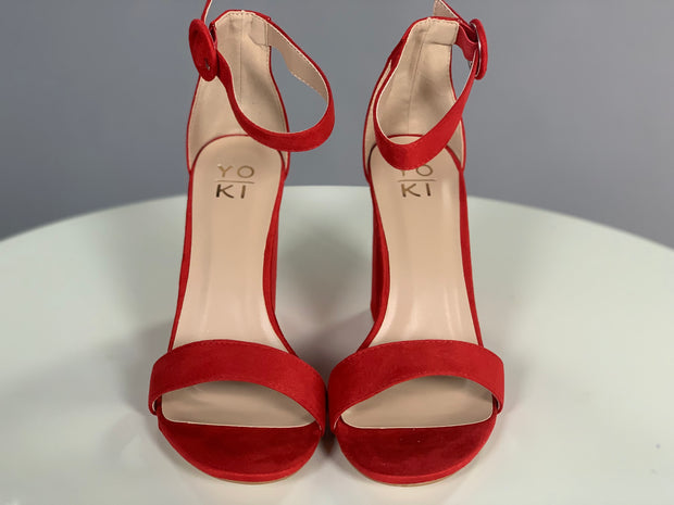 SHOES {Statement Piece} Red Suede Ankle Strap Heels